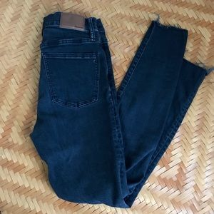 """Worn in 9"""" High Rise Skinny Distressed Jeans"""